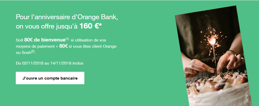 orange bank 160€ offerts
