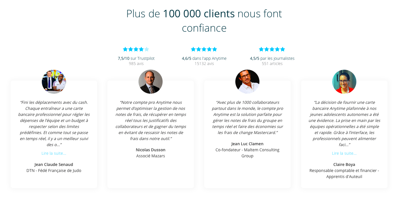 avis clients anytime